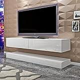Keinode TV-Schrank zur Wandmontage, moderner LED-Ständer, Flugzeug-Aufhängung, Weiß, Hochglanz, schwimmender TV-Ständer, 140 cm Schrank, Stauraum für Wohnzimmer, Schlafzimmer grau