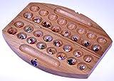 Logoplay Holzspiele Bao - Hus - Kalaha - kleines Reisespiel für unterwegs - 30cm lang - Steinchenspiel - Edelsteinspiel - oval aus Samena-Holz