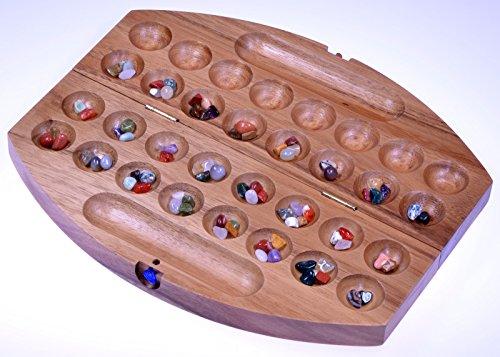 Logoplay Holzspiele Bao - Hus - Kalaha - kleines Reisespiel für unterwegs - 30cm lang - Steinchenspiel - Edelsteinspiel - oval aus Samena-Holz -
