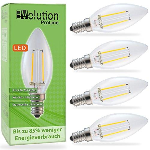 Evolution E14 3W 350lm | bombillas incandescentes de filamento LED | Lámpara de 230V AC 270 ° | Reemplazo de 20-25W | Lámparas E14 blanco caliente | Conjunto de 4