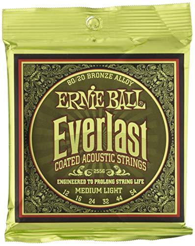 Ernie Ball Everlast Cuerdas de guitarra acústica de bronce medio revestidas de 80/20 - calibre 12-54