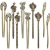 Jetec 10 Stücke Chinesische Damen Haar Stäbchen Antike Bronze Dekorative Haarnadel Vintage Haar Sticks für Haar DIY Zubehör, 5 Stile
