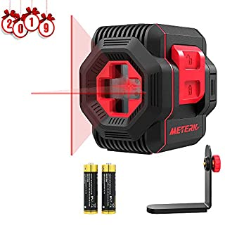 Line Laser, Meterk Cross Laser Level with Measuring Range 15M, Switchable Self-Leveling Vertical and Horizontal Line, Rotatable 360 Degree with Flexible Magnetic Base, Battery Included