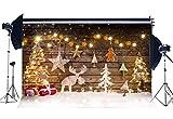 Sunny Star 7X5FT/210X150cm Vinyl Photography Backdrop Christmas Tree Xmas Gifts Shining String Balls Bokeh Halos Snow Vintage Wood Floor Backdrops Seamless Kids Girl Adults Happy New Year Background Photo Studio Props CA453