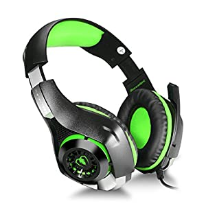 BlueFire 3.5mm PC LED Light Gaming Bass Stereo Over-ear Headset Headphone Earphones Headband with Mic Microphone For Laptop Computer - Volume Control by BlueFire