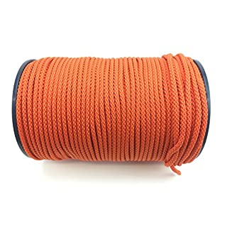 RopeServices UK 6mm Orange Braided Polypropylene Rope x 100m Reel. Cord, Colourline, Paracord