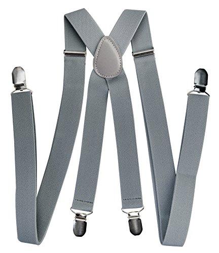 Axy bretelle da uomo e da donna, larghezza 2,5 mm con 4 forti clip a forma di x grigio grau