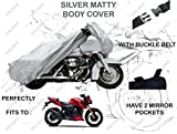 #9: Volga Silver Bike Body Cover With Mirror Pocket For Tvs Apache Rtr 200