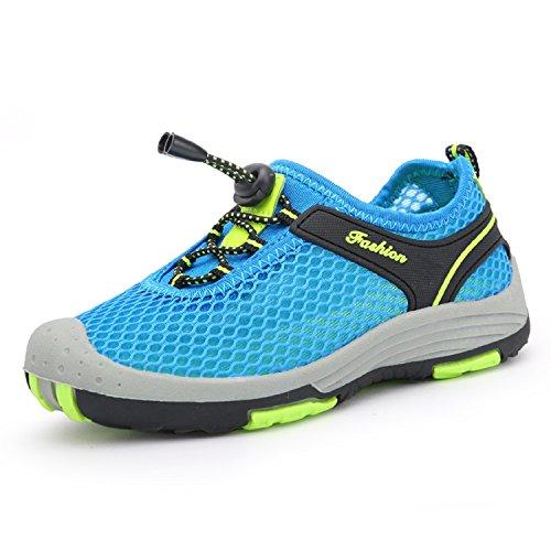 KISCHERS Mesh Geschlossene Sandalen Outdoor Trekking Schuhe Kinder Jungen Mädchen Wander Abriebfeste Sohle Sneaker Sommer Blau
