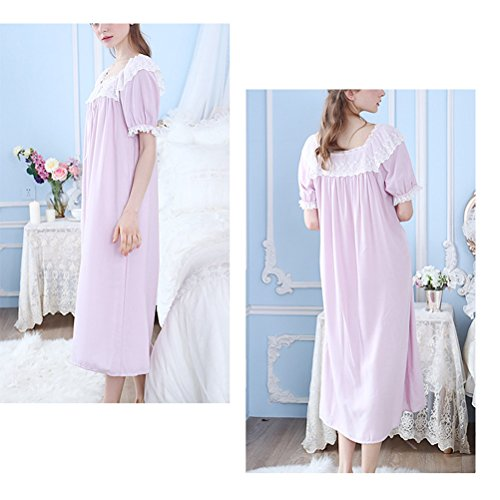 Zhhlaixing Womens Summer Breathable Sleep Skirt Nightwear Fashion Short Sleeve Pajamas Purple