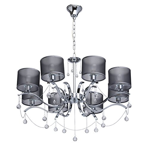 MW-Light 379019108 Jugendstil Kronleuchter Modern Chrom Metall Silber mit Kristall Klar Grau Textilschirme 8 Flammig x 40W E14