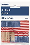 Unique Party Supplies US American Flag Cupcake Topper, 30 Stück