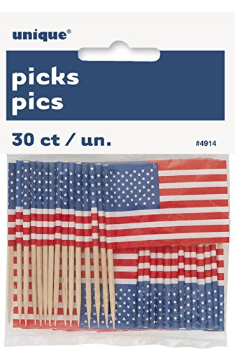 US American Flag Cupcake Topper, (Supplies Party)