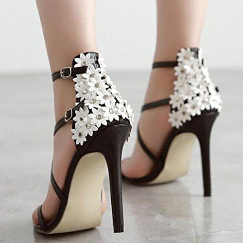 Oasap Damen Offen Cross Riemchen High Heels Blumen Sandalen Black
