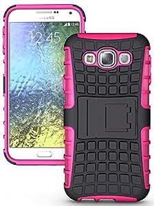 Heartly Flip Kick Stand Spider Hard Dual Rugged Armor Hybrid Bumper Back Case Cover For Samsung Galaxy E5 SM-E500F Dual Sim - Cute Pink