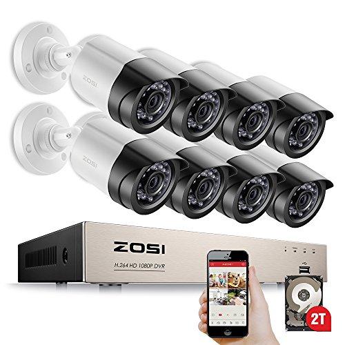 ZOSI 8CH 1080P Outdoor Video Überwachungsset mit 2TB Festplatte 8CH HDMI DVR Recorder und 8 X Full HD 1920TVL Tag Nacht Überwachungskamera CCTV System 3,6mm Linse, 20M Infrarot Nachtsicht (Video Plus-dvr 2 Digital)