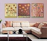 Lemon Tree Kunstdruck, abstraktes Design, groß, Vintage-Stil, Blumen, Bild mit Kunstdruck auf Leinwand, auf Rahmen, fertig zum Aufhängen, modernen Dekorationen, 3-er set, je 40 x 50 cm #cy - 706