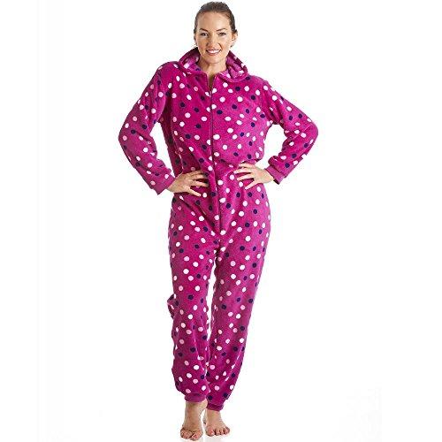 Superweicher Schlafanzug-Overall mit Kapuze - Pünktchenmuster - Violett