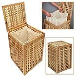 Wäschekorb Wäsche Truhe Sammler Box 68 cm Höhe Badmöbel Massiv Walnuss Holz