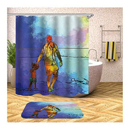 Aeici Badematte 40X60 Vater und Tochter Badewannenvorhang Textil Polyester Badematte Waschbar Bunt Duschvorhang 180X200 cm