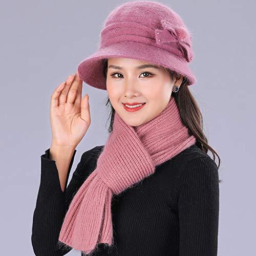 HAOLIEQUAN Mode Winter Mützen Häkeln Strickmütze Für Frauen Warmer Schal Und Hut Strickmütze Beanie, RosaHut Und Schal