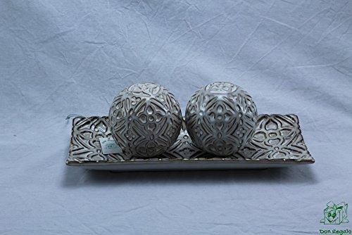 DonRegaloWeb - Centre rectangulaire en céramique Blanc avec Dessins Marrons avec 2 Boules