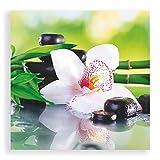 Artland Qualitätsbilder I Glasbilder Deko Breit 50 cm Hoch 50 cm Wellness Zen Grün Spa Steine Bambus Zweige weiße Orchidee Feng Shui