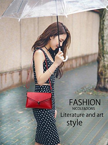 NICOLE&DORIS Elegant Stilvoll Damen Handtaschen Umhängetasche Crossbody Bag Henkeltaschen Schultertaschen Klein Tasche PU Schwarz Rot