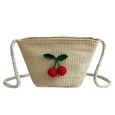 Tomtopp Cherry Straw Weave Shoulder Bags Women Beach Small Messenger Handbags/Beige