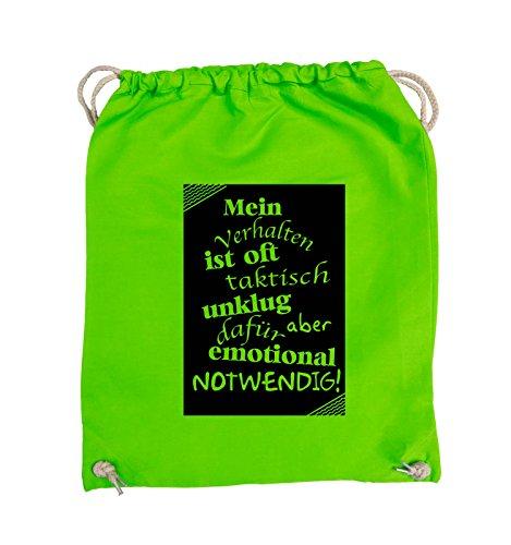 Comedy Bags - Mein Verhalten ist oft taktisch unklug - ZETTEL - Turnbeutel - 37x46cm - Farbe: Schwarz / Silber Hellgrün / Schwarz