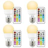 DE-LITE 3W E27 LED Farbwechsel Licht Leuchtmittel mit Fernbedienung, RGB + warm Weiß 270° Breite Winkel, Dual-Speicher und Wand umschalten beherrschen (4-er Pack)