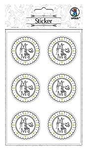 Ursus 59530001F Pegatinas para Boda, 24 Pegatinas con Texto Mr & Mrs, Autoadhesivas, con Acabado de láminas, diámetro de Cada una Aprox. 4,8 cm, Multicolor