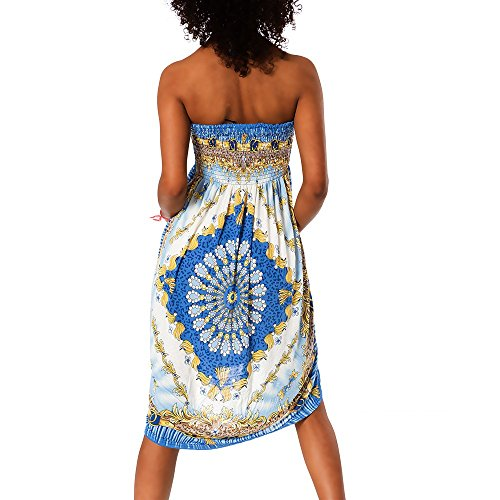 H112 Damen Sommer Aztec Bandeau Bunt Tuch Kleid Tuchkleid Strandkleid Neckholder F-028 Blau