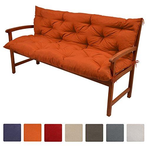 Beautissu Bankauflage Flair BR ca 120x50x50cm bequemes Bank Polster & Rücken-Kissen als Gartenbank Auflage Orange