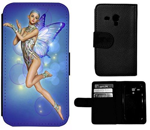 Flip Cover Schutz Hülle Handy Tasche Etui Case für (Apple iPhone 4 / 4s, 1386 Drache Dragon grün auf Moped Orange) 1384 Fantasy Manga Anime Fee Elfe Frau Girl