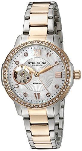 Stührling Original 491.03 - Reloj analógico para mujer, correa de acero inoxidable, color plateado / rosado
