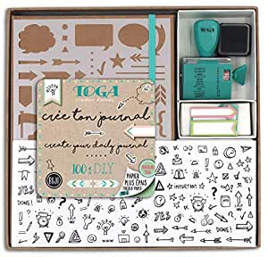 Toga KT74 Kit Bullet Journal, Carnet, Kraft, 15,5 x 21,5 x 1,5 cm