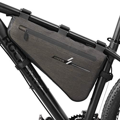 Modaka Sacoche de vélo Sac Triangle Vélo Etanche Cadre Avant Sac de Selle pour extérieur de vélo Tube Sac À Libération Rapide (L)