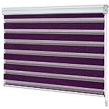 casa pura Day&Night Doppelrollo mit Kassette | Doppelfunktion lichtdurchlässig und verdunkelnd | zahlreiche Farben und Größen (violett 110x150 cm)