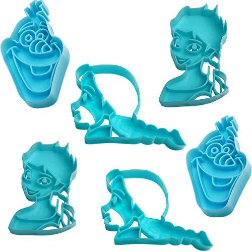 alles-meine.de GmbH 3D Effekt _ 6 TLG. Set _ Keks & Plätzchen Ausstechformen - Disney die Eiskönigin - Frozen - BPA frei - Ausstecher - Kinderküche - Kekse - Plätzchenset - Keksa.. (6 Frozen Stück-figur-set)