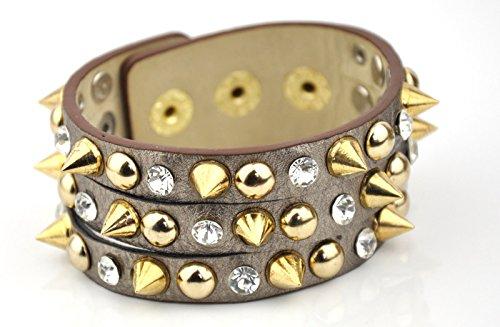 In pelle PU Spike Orecchini in oro braccialetti in metallo 3dimensioni bottoni Cuff Silver