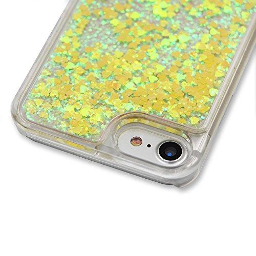 für iphone 7 Plus Hülle Hartplastik Transparent,SKYXD Handyhülle iphone 7 Plus Glitzer Flüssig Bewegen Partikel Fließen Durchsichtig Klar Brillianter Kreativ Design mit [Handyanhänger + Eingabestifte] Farbe #05