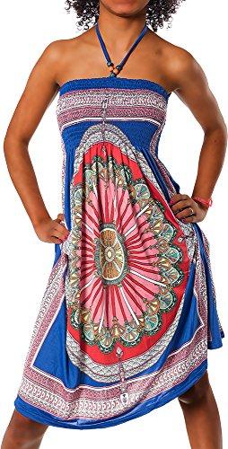 Damen Kleid Minikleid Cocktailkleid Neckholder Bunt Design Bandeau Partykleid Strandkleid Blumen...