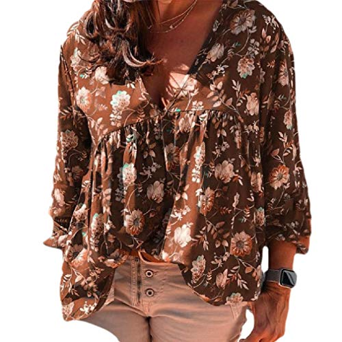 CuteRose Women Baggy Style V-Neck Lounge Long Sleeve Floral Printed Tops Blouses Khaki 2XL -