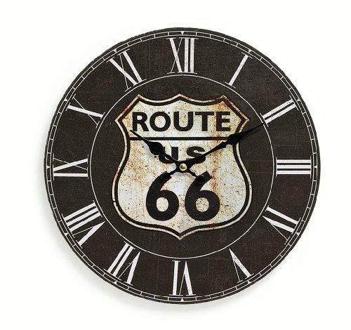 """Orologio da parete in legno, 29cm,motivo: """"Route 66"""", colore: nero, orologio da..."""