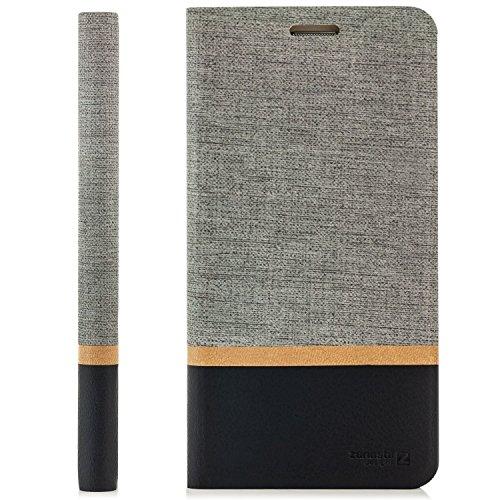 zanasta Designs Tasche HTC One A9s Hülle Flip Case Schutzhülle Handytasche mit Kartenfach Grau