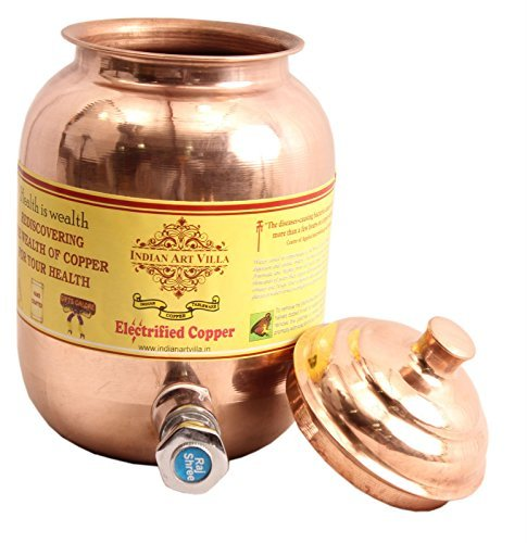 """Indian Art Villa IndianArtVilla 9.4\"""" X 4.0\"""" Handmade 100% Pure Copper Volume 1.5 Liter Water Pot Storage Water Tank With Tap Kitchen Home Garden Good Health Benefits Yoga, Ayurveda"""