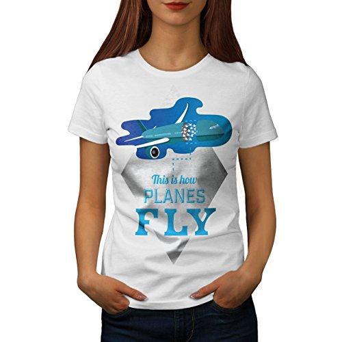 wellcoda Flugzeuge Fliege Frau 2XL T-Shirt (Frau Flugzeug Shirts)