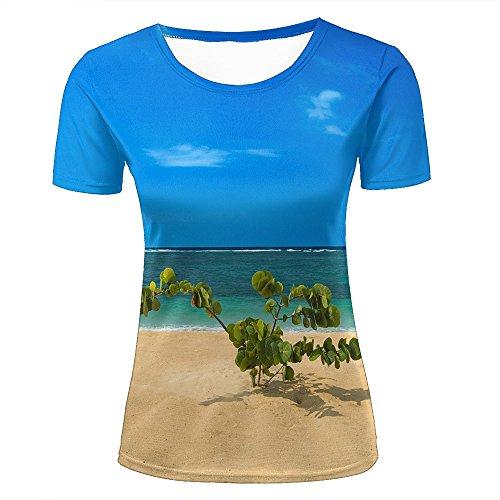 brand new e6a34 1532f Women T-Shirt 3D Digital Pinted Deserted Seaside Green grss Crewneck Casual  tee Shirt Tops XXL