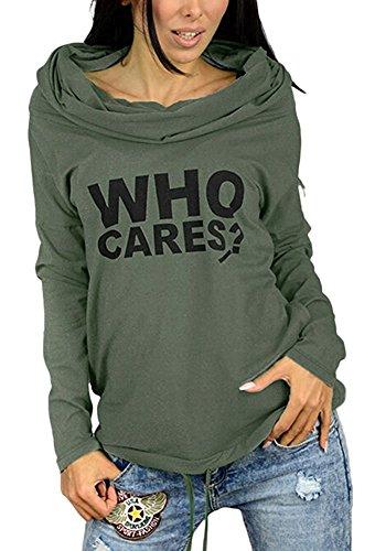 Minetom Mujer Camiseta Impresión Manga Larga Con Capucha Sudaderas Casual Camisa Blusa T-shirt Blouses Pullover Ejercito verde ES 48